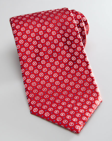 Neat Floral Silk Tie, Red