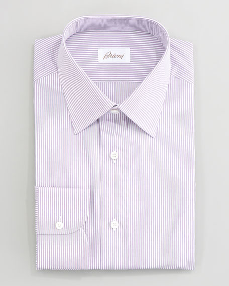 Thin-Striped Dress Shirt, Berry