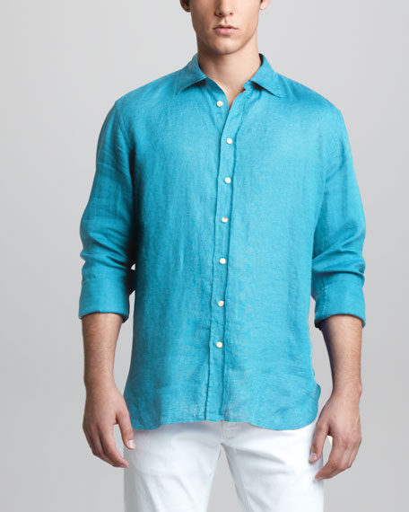 Long-Sleeve Linen Shirt, Turquoise