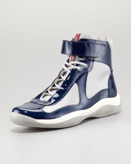 High-Top Patent Lace-Up Sneaker, Navy/Silver