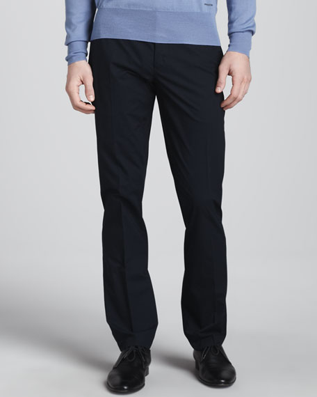 Slim-Fit Poplin Trousers, Navy
