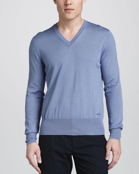 V-Neck Merino Sweater, Pale Iris Blue