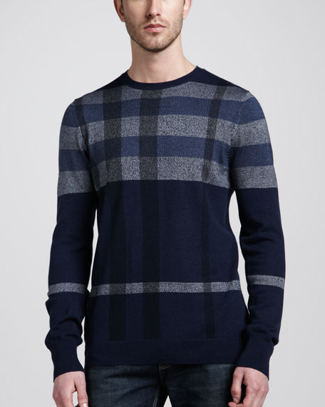 Check Wool-Silk Crewneck Sweater, Navy
