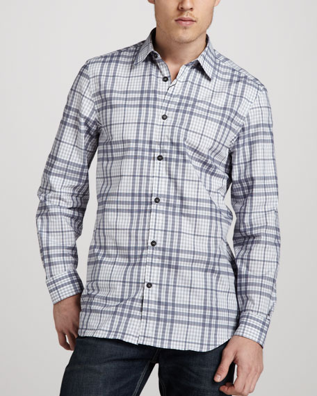 Check Sport Shirt, Blue Carbon