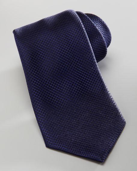 Tonal-Pattern Silk Tie, Navy