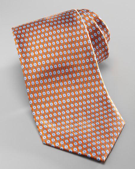 Dot-Lattice Silk Tie, Orange