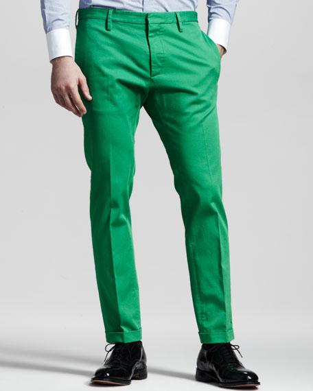 Slim Twill Pants, Green