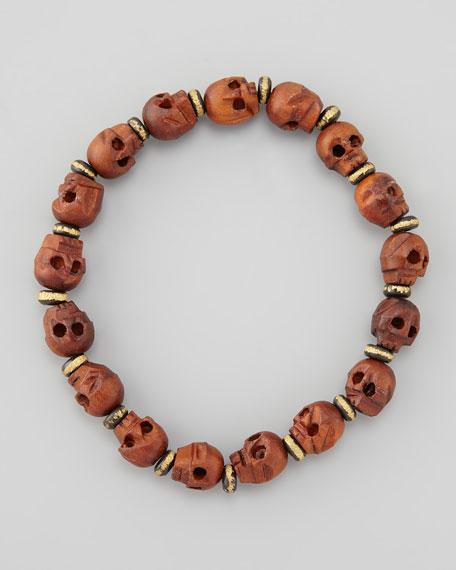 Wooden Skull-Beaded Bracelet