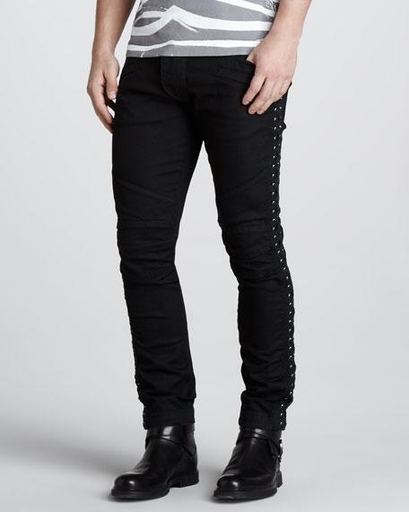 Lace-Up Biker Jeans