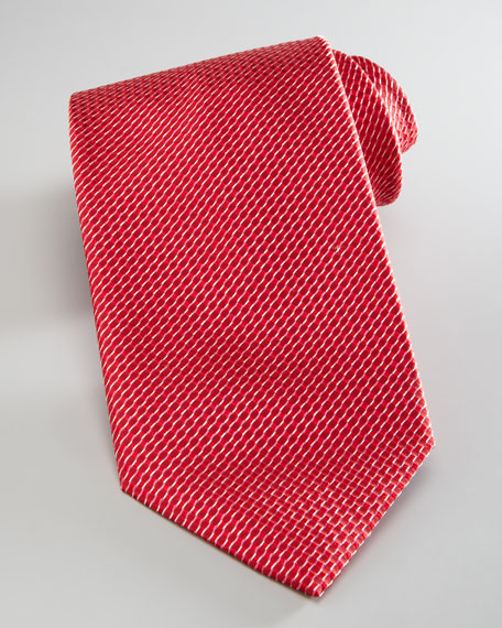 Basket-Weave Silk Tie, Red