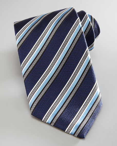 Multi-Stripe Silk Tie, Blue