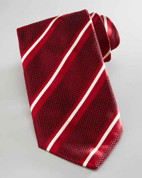 Striped Grenadine Tie, Red