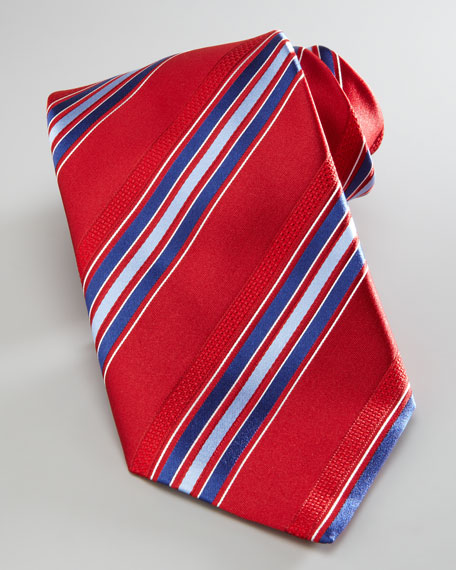 Striped Silk Tie, Red/Blue