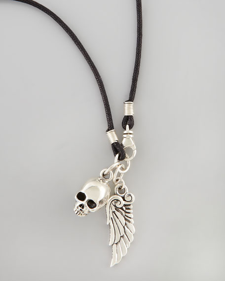 Skull & Wing Cord Necklace