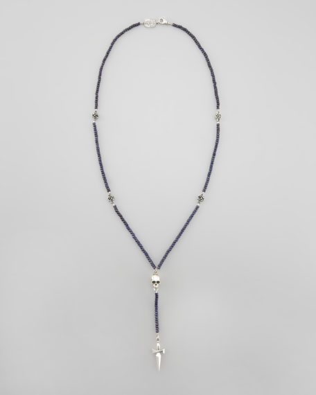 Sapphire Bead Rosary Necklace