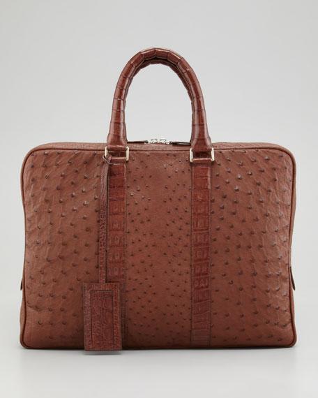 Ostrich & Crocodile Briefcase, Tobacco