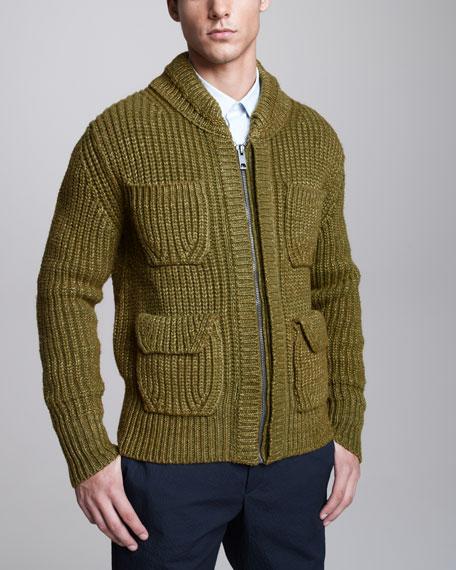 Rib-Knit Bomber Sweater