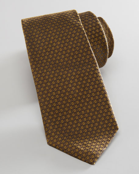Geometric Jacquard Skinny Tie, Mustard