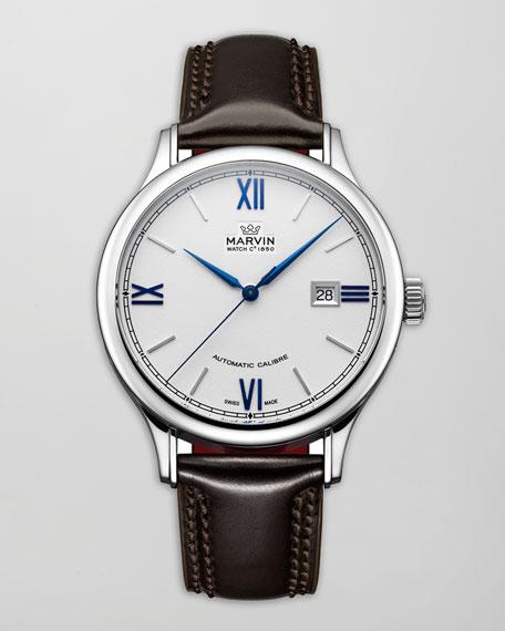 Malton Round Automatic Watch, Leather Strap