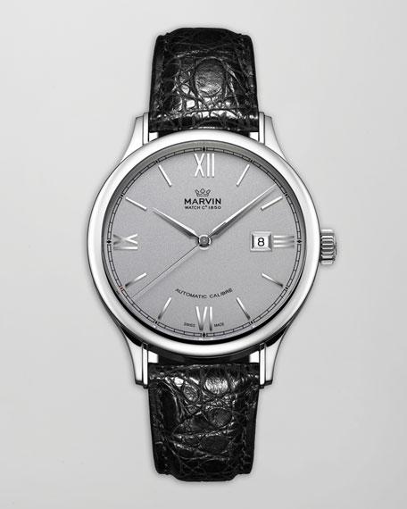 Malton Round Automatic Watch, Crocodile Strap