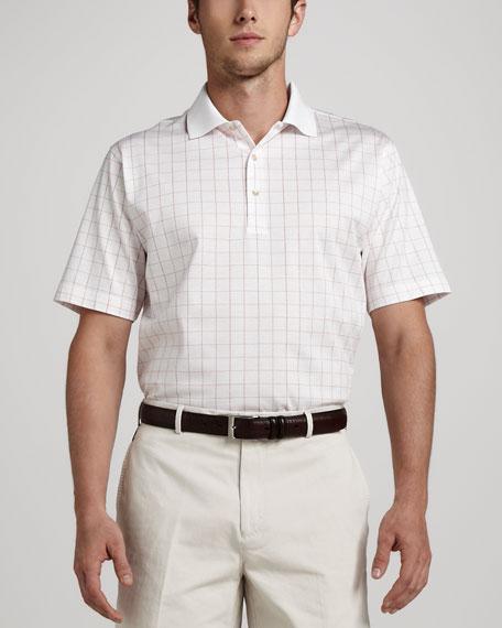 Check Polo, White/Tango Pink