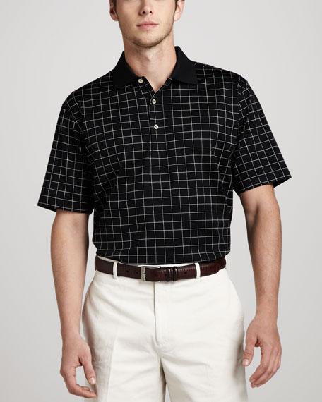 Check Polo, White/Black