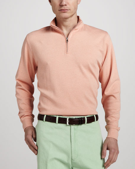 Interlock Quarter-Zip Sweater, Papaya