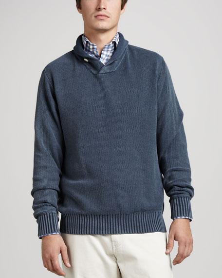 Enzyme-Wash Popcorn-Stitch Sweater