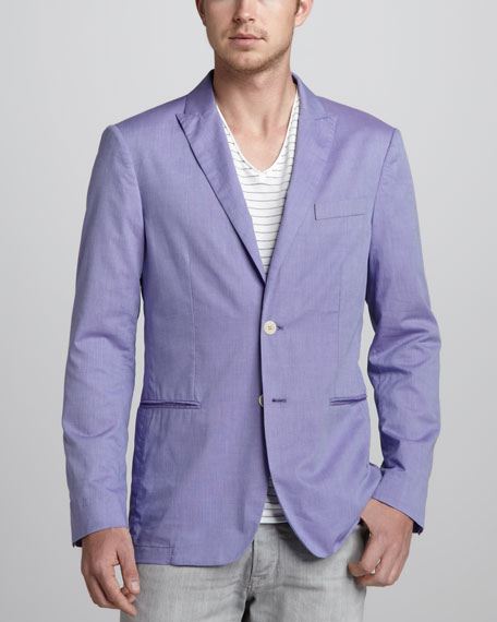 Soft Peak-Lapel Blazer, Purple
