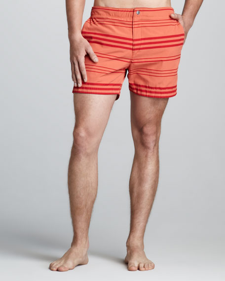 Kosmor Striped Swim Trunks, Orange