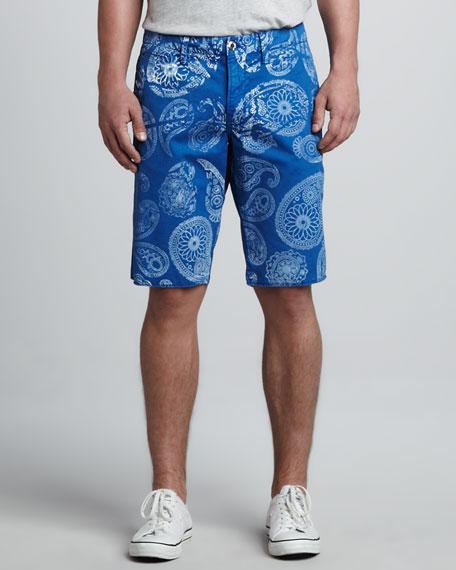 St. Bart's Paisley Shorts, Cobalt/White