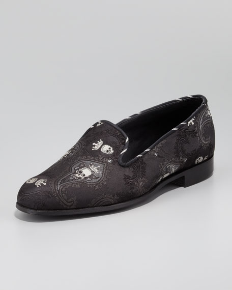 Embroidered-Skull Paisley Smoking Slipper