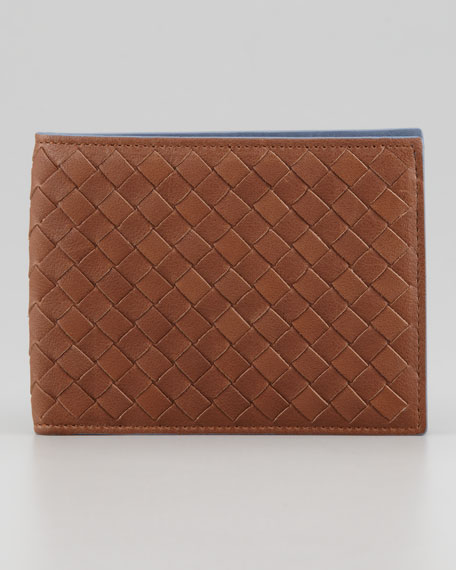 Woven Bi-Fold Wallet, Blue/Brown