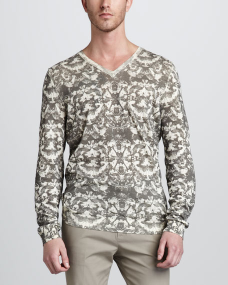 Insect-Print V-Neck Sweater