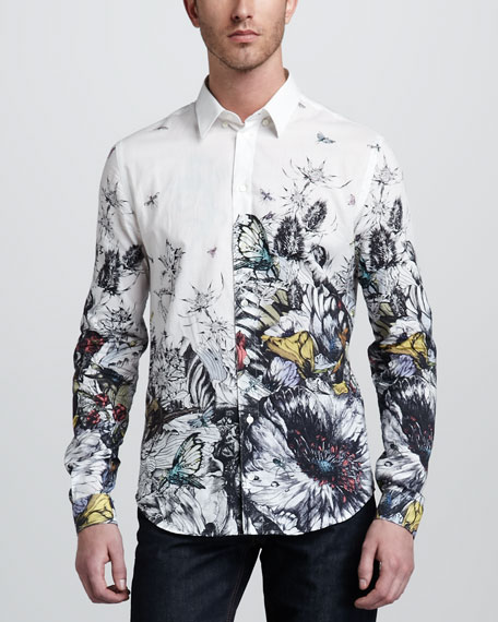 Hand-Drawn Butterfly Sport Shirt