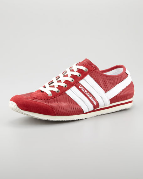 Perforated Logo Sneaker, Red