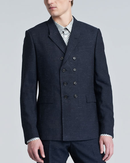 Textured Double-Breasted Suit Jacket