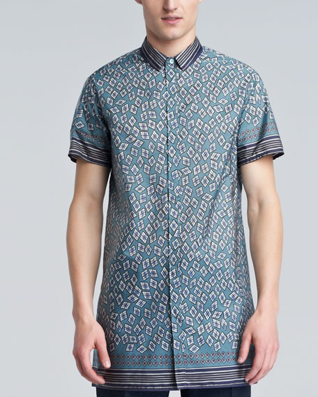 Diamond-Print Tunic Shirt