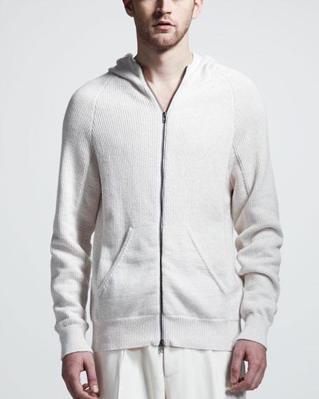 Mixed-Knit Zip Hoodie