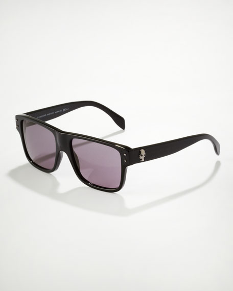Square Skull Frame Sunglasses, Black