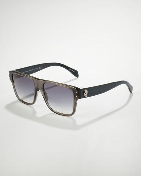 Square Skull Frame Sunglasses, Gray