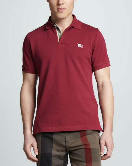 Check-Trim Pique Polo, Raspberry Sorbet