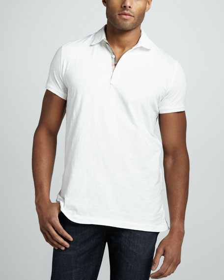 Check-Placket Slub Polo, White