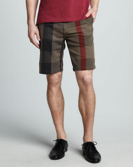 Check-Print Cotton Shorts