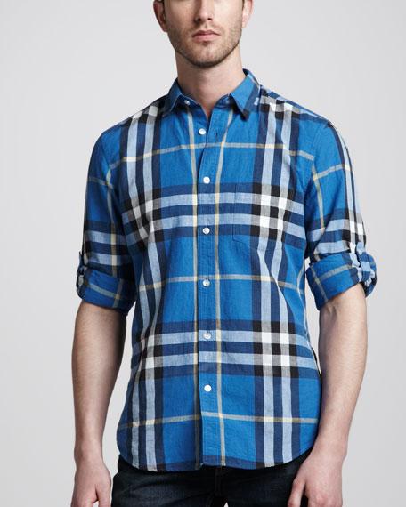 Check Linen-Blend Sport Shirt