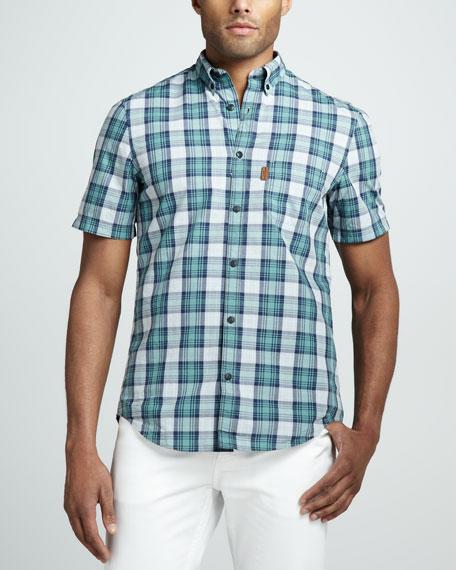 Burberry Brit Plaid Short Sleeve Button Down Shirt