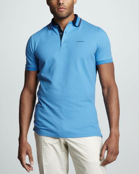 Stripe-Collar Pique Polo, Light Cornflower Blue