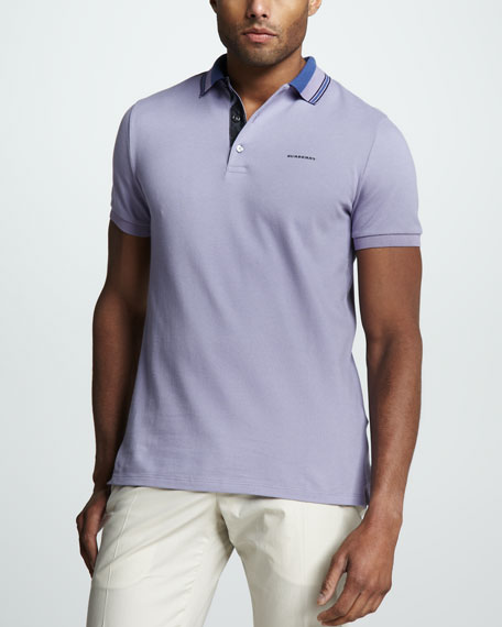 Stripe-Collar Polo, Lavender