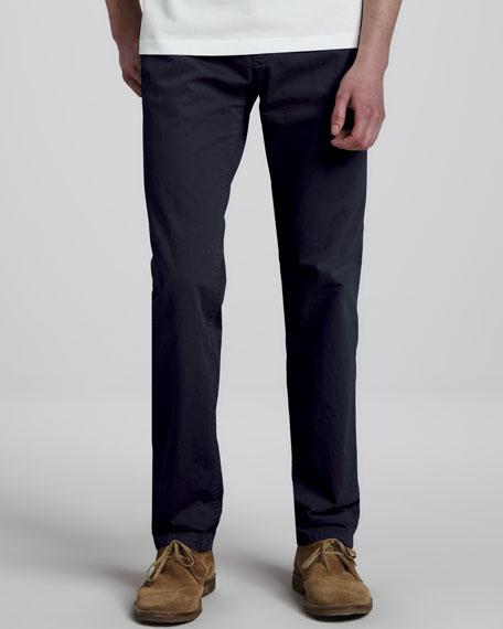 Slim Cotton Pants, Navy