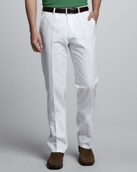 St. Malo Cotton-Linen Pants, Optical White